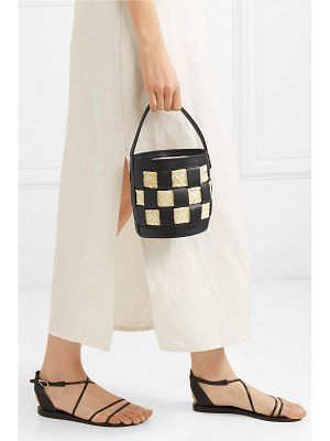 HEREU galeda mini woven leather, raffia and canvas bucket bag