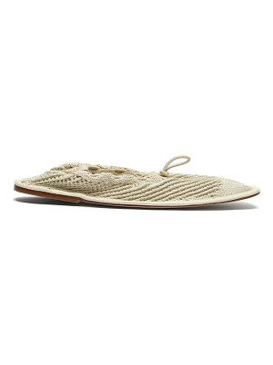 HEREU puntera crochet-knitted cotton and leather flats