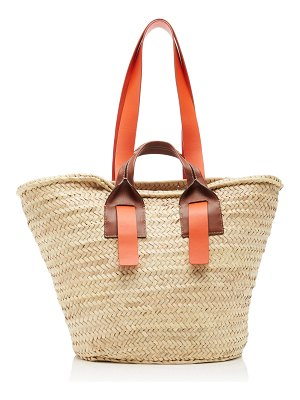 HEREU senallo leather-trimmed straw tote