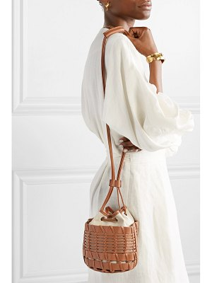 HEREU net sustain siana leather and organic cotton-canvas bucket bag