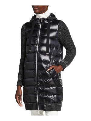 Herno Classic Long Down Coat with Knit Contrast