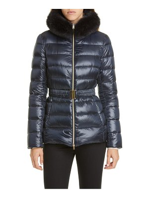 Herno claudia down jacket with genuine fox fur trim