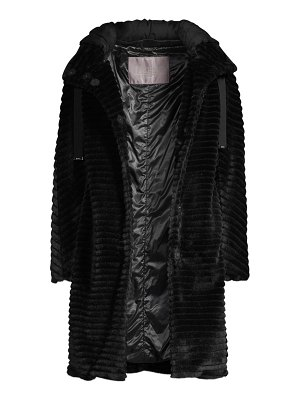 Herno faux fur striped front hooded coat