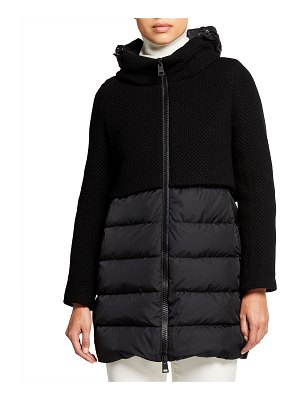 Herno Funnel-Neck Knit and Down Combo Coat
