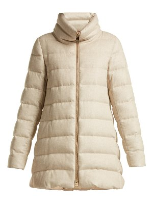 Herno funnel neck quilted down mid length coat