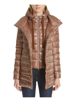 Herno high/low quilted down puffer coat with removable hooded inset