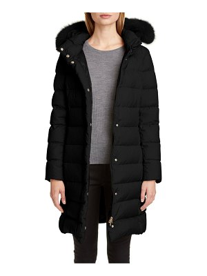 Herno long hooded down puffer coat with genuine fox fur trim