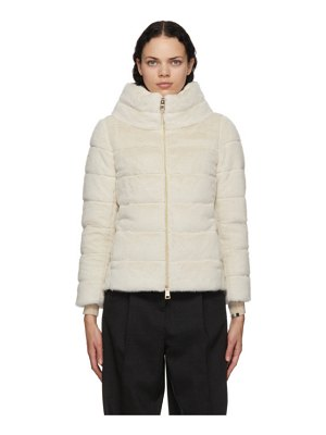 Herno off-white down faux-fur jacket
