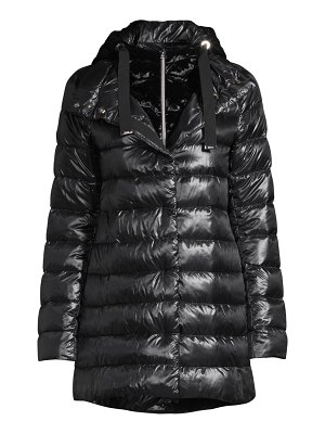 Herno removable hood & crushed velvet windguard down jacket