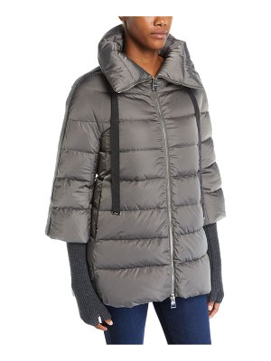 Herno Satin Channel-Quilted Down Puffer Coat