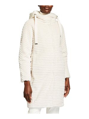Herno Striped Ecofur Coat with Removable Hood