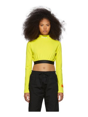 Heron Preston yellow style cropped long sleeve t-shirt