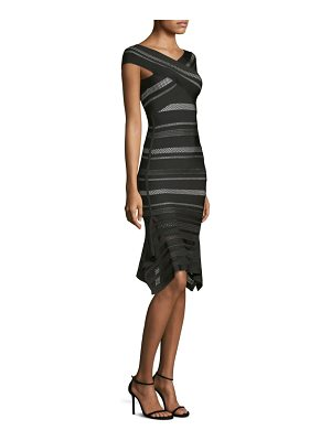 Herve Leger crochet flutter-hem bandage dress