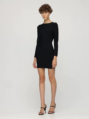 Herve Leger Fitted stretch jersey mini dress