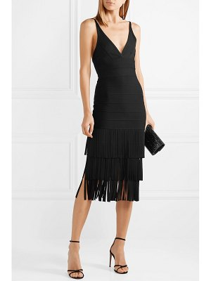 Herve Leger fringed bandage midi dress