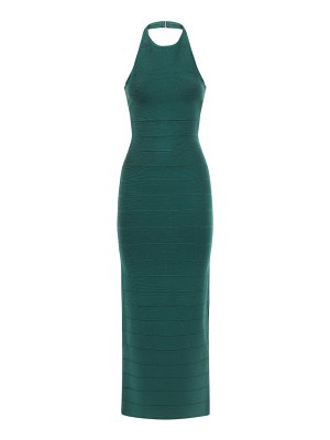 Herve Leger Halterneck stretch jersey long dress