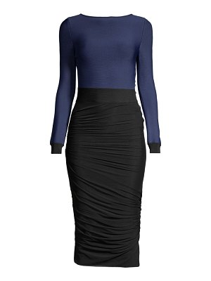 Herve Leger long sleeve ruched dress