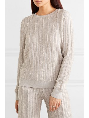 Herve Leger striped metallic knitted sweater