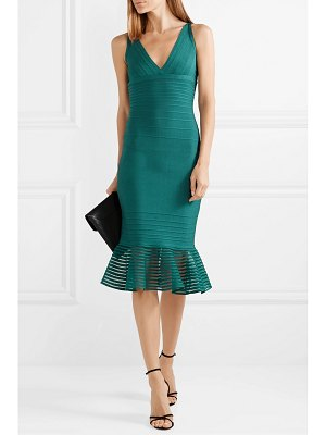 Herve Leger tulle-trimmed bandage dress