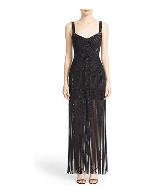Herve Leger 'vitoria' fringe trim hand beaded bandage gown