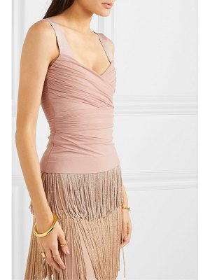Herve Leger wrap-effect bandage and ruched tulle top