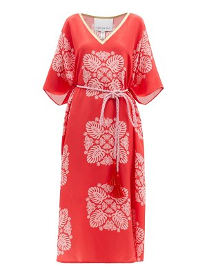 Hester Bly the silafi belted butterfly-print silk tunic dress