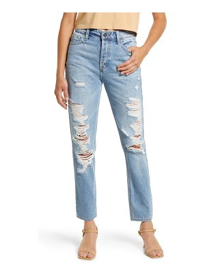 Hidden Jeans grinded destroyed high waist ankle straight leg jeans