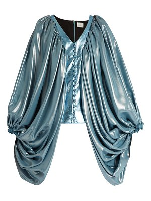 HILLIER BARTLEY balloon-sleeve silk-blend and faux-leather top
