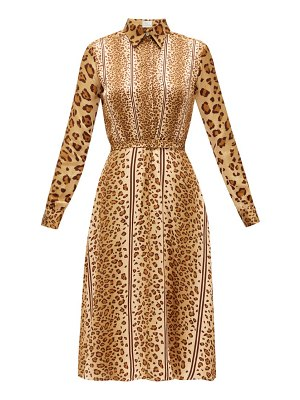 HILLIER BARTLEY belted leopard-print satin shirt dress