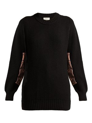 HILLIER BARTLEY contrast panel cashmere sweater