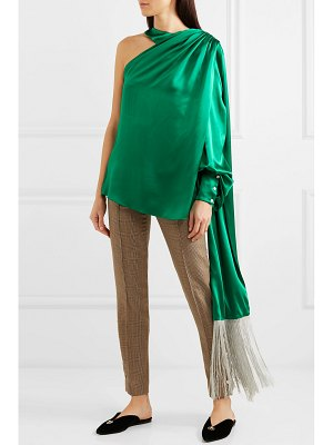 HILLIER BARTLEY one-shoulder draped silk-satin blouse
