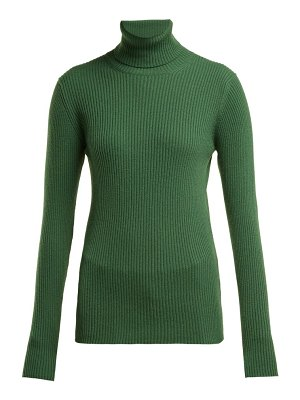 HILLIER BARTLEY roll neck ribbed cashmere sweater