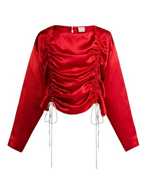 HILLIER BARTLEY ruched silk-satin blouse
