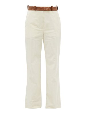 HILLIER BARTLEY snake-effect belted cotton-corduroy trousers