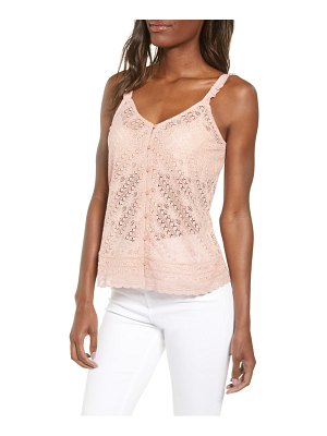 Hinge button front lace camisole