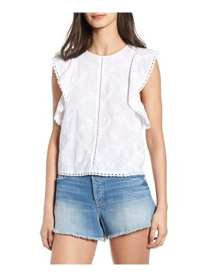 Hinge flutter sleeve embroidered top