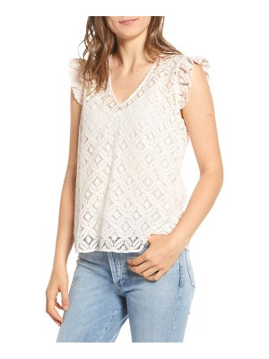 Hinge ruffle sleeve lace top