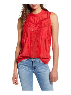 Hinge sleeveless embroidered top