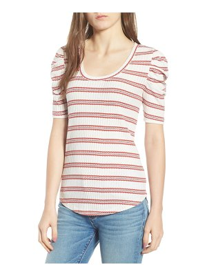 Hinge stripe ribbed puff sleeve top
