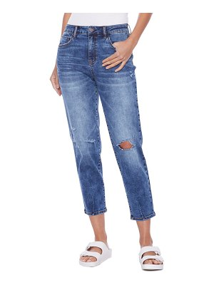 HINT OF BLU clever high waist ripped ankle slim straight leg jeans