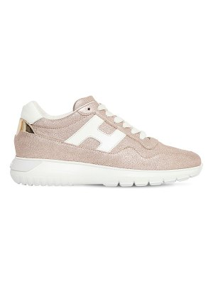 hogan 60mm i cube lamè leather sneakers