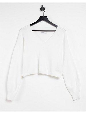Hollister boxy v neck knitted sweatshirt in white