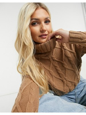 Hollister cable knit roll neck sweater in camel-tan