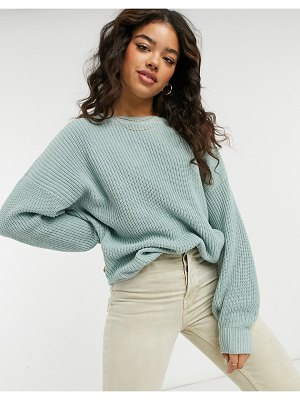 Hollister crew neck knitted sweater in gray-grey