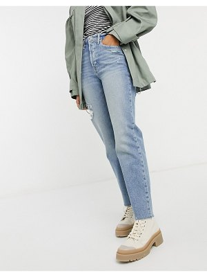 Hollister distressed cuffed hem ripped straight jeans in mid wash-blues