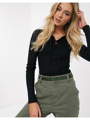 Hollister long sleeve lace up top in black