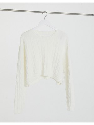 Hollister mock neck cable sweater in white
