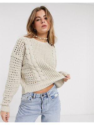 Hollister open stitch cable chenille sweater-tan