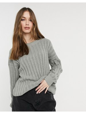 Hollister oversized ribbed crew neck knit sweater in gray-grey