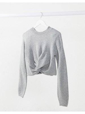 Hollister reversible twist front crew sweater in gray mist